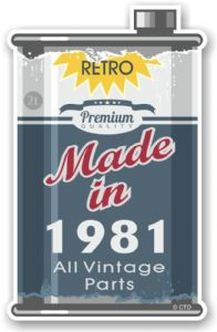 Vintage Aged Retro Oil Can Design Made in 1981 Vinyl Car sticker decal  70x110mm